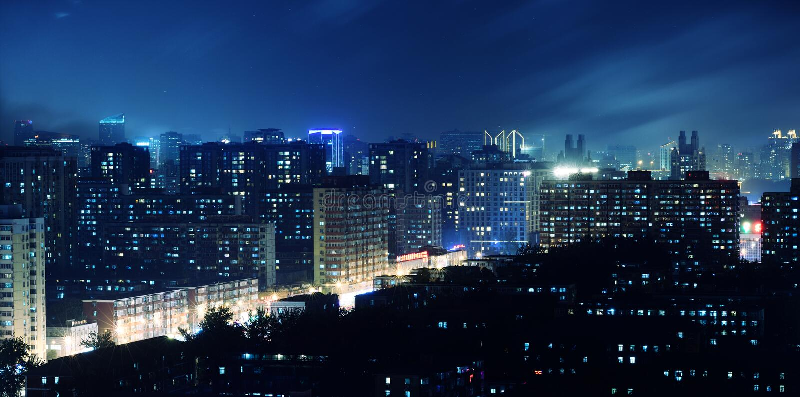 Luzes de um twinkling da miríade de uma cidade foto de stock royalty free
