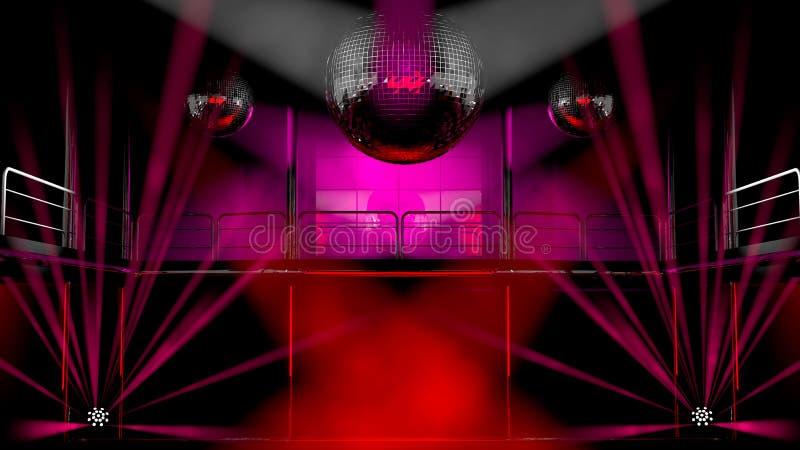 Luzes do clube de noite e esferas coloridas do disco ilustração stock