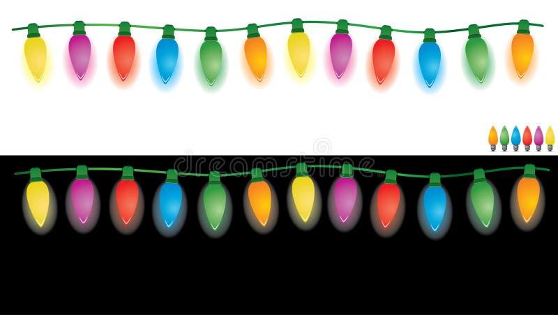 Luzes do feriado ajustadas ilustração stock