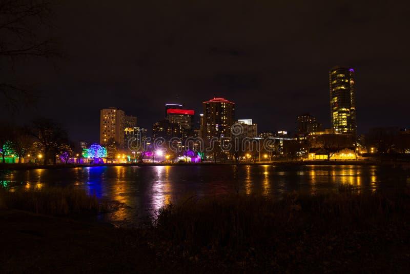 Luzes do inverno em Minneapolis, Minnesota imagem de stock royalty free