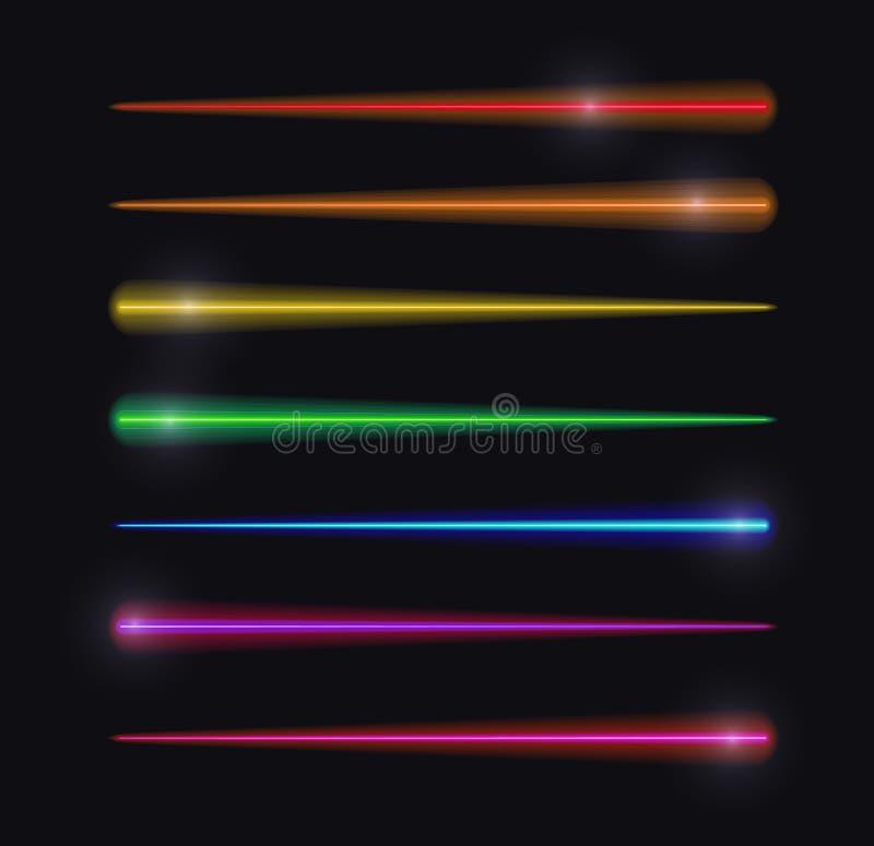 Luzes do movimento do vetor, linhas de incandescência abstratas, cores do arco-íris, grupo isolado ilustração stock