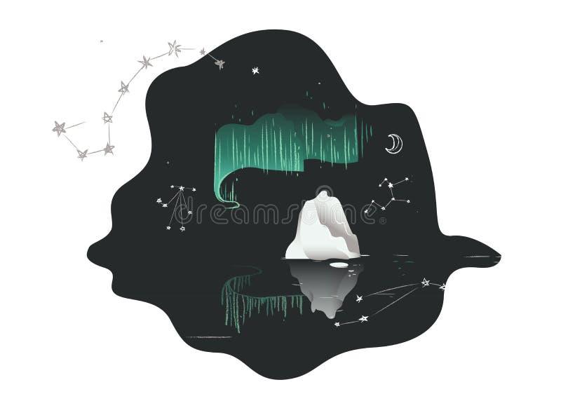 Luzes do Norte - Aurora borealis no céu noturno acima da água e do gelo ilustração stock