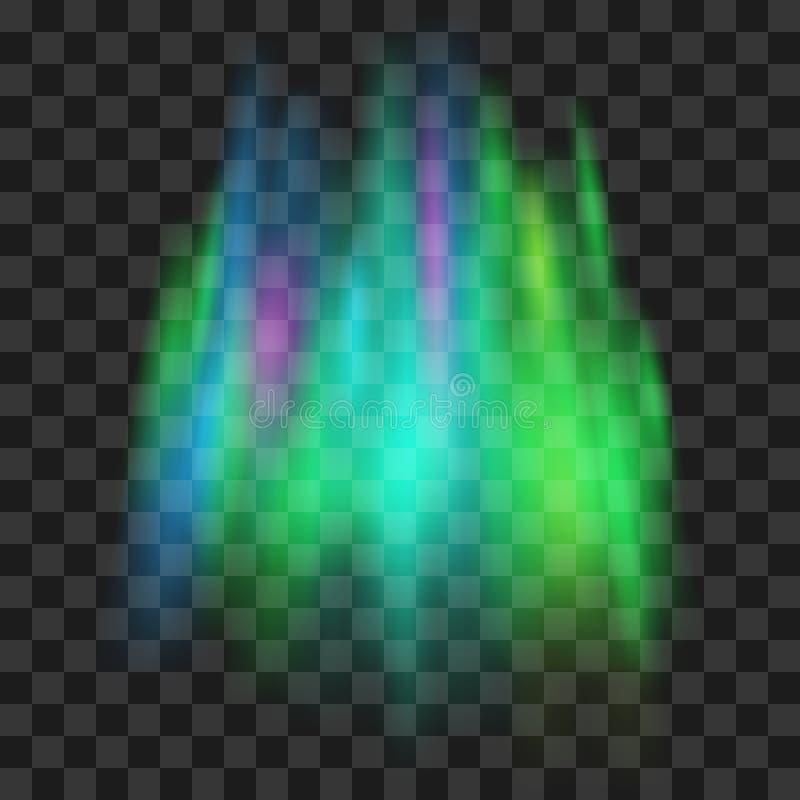 Luzes do norte Aurora borealis no fundo transparente Ilustração do vetor ilustração stock
