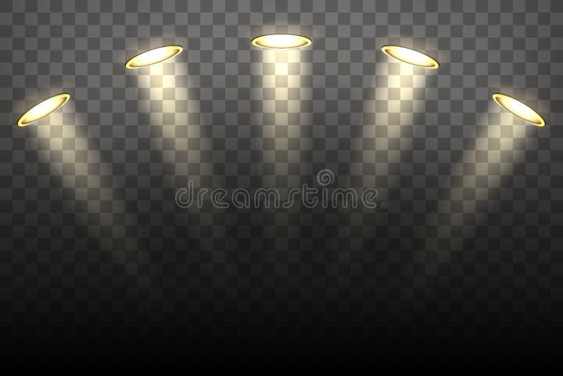 Luzes do ponto no fundo transparente ilustração do vetor