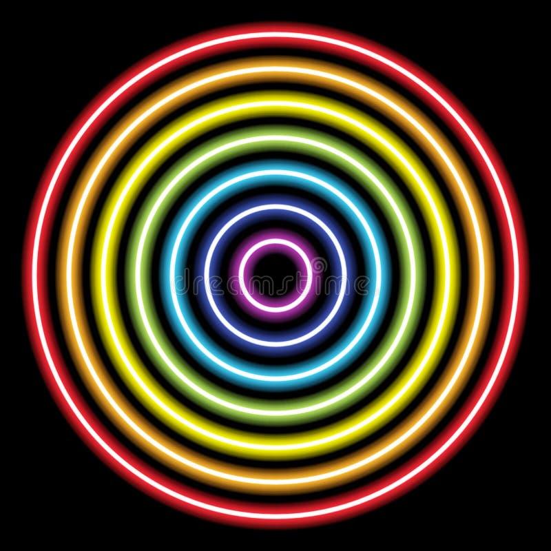 luzes do tubo de néon do arco-íris do círculo no preto para o fundo e o projeto ilustração do vetor
