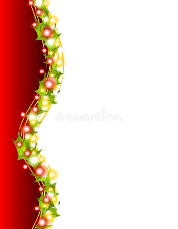Luzes do Xmas e beira 2 do azevinho ilustração do vetor