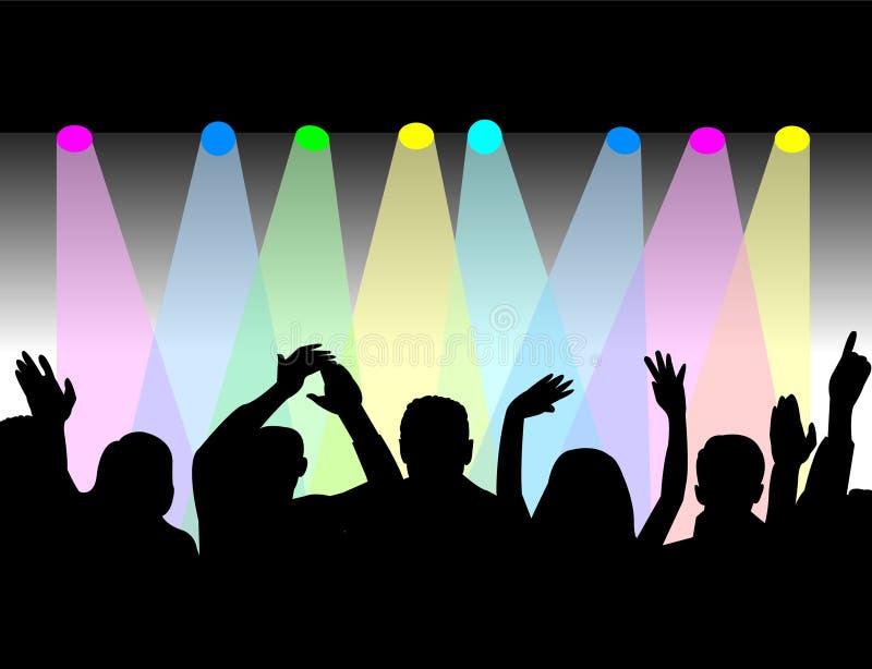 Luzes e audiência do estágio ilustração royalty free