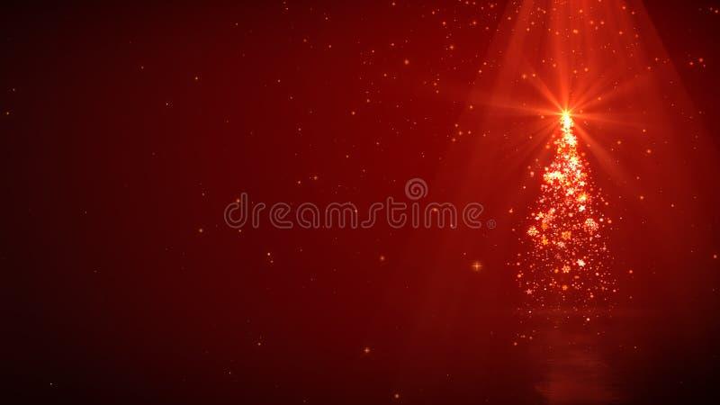Luzes e brilho mágicos da árvore de Natal no fundo vermelho com copyspace ilustração do vetor