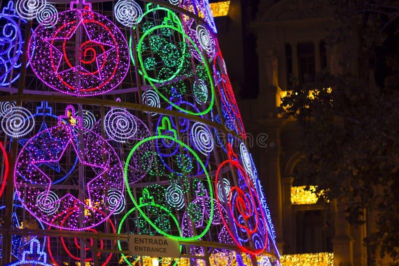Luzes e construção conduzidas de Natal fotos de stock