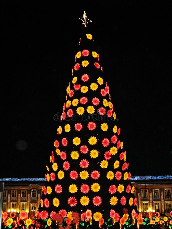 Luzes e decorações da rua no tempo do Natal em Bogotá, Colômbia fotografia de stock