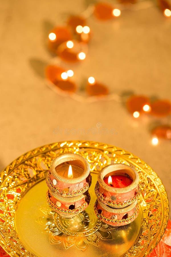 Luzes e diyas de Diwali imagem de stock