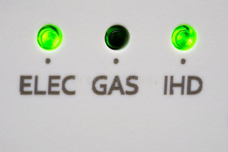 Luzes espertas do diodo emissor de luz do medidor imagem de stock