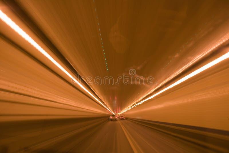 Luzes listadas ao conduzir através de Lincoln Tunnel em New York City a New-jersey imagens de stock
