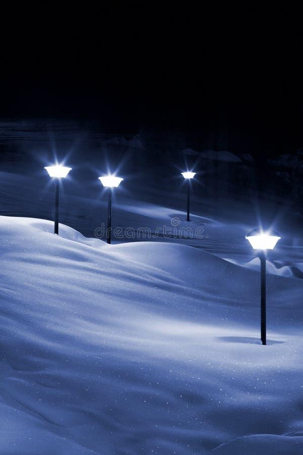 Luzes na neve fotografia de stock
