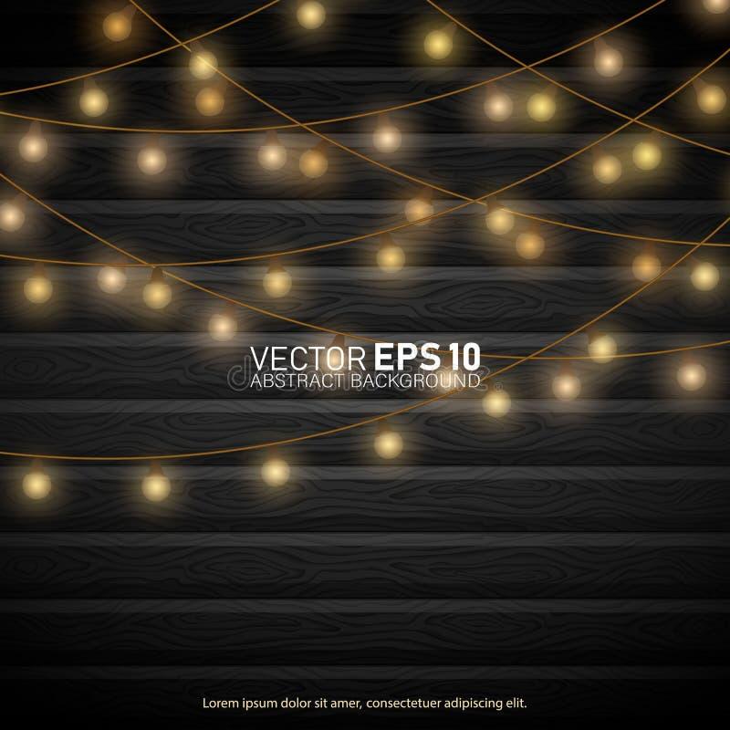 Luzes no fundo de madeira ilustração do vetor