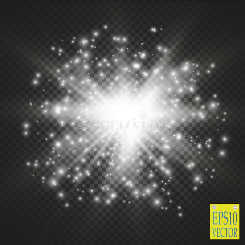 Luzes no fundo transparente Ilustração branca do sumário da onda do brilho do vetor ilustração stock