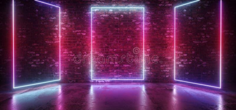 Luzes roxas cor-de-rosa azuis de incandescência do quadro do retângulo da fase do inclinação do clube elegante moderno retro futu ilustração royalty free