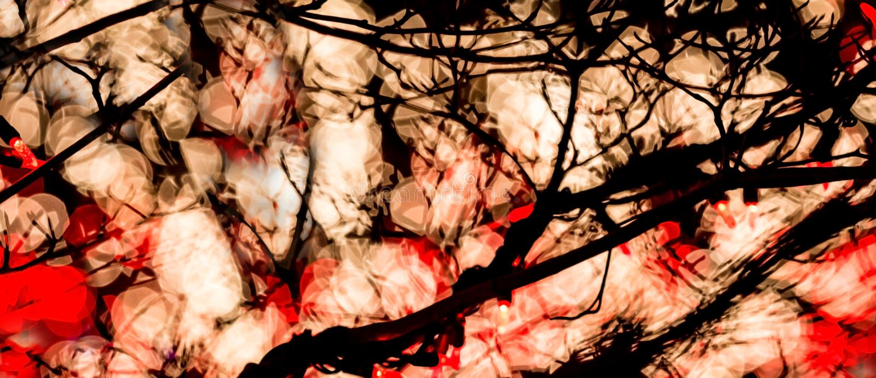 Luzes vermelhas & brancas abstratas de Bokeh fotografia de stock