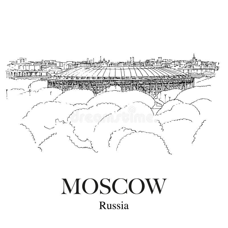 LUZHNIKI-STADION, MOSKVA, RYSSLAND: Panoramautsikt till den Luzhniki sportstadion från observationsdäcket nära Moskvauniversitet  stock illustrationer