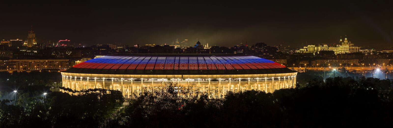 Luzhnikistadion bij de zomernacht Moskou, Rusland royalty-vrije stock afbeelding