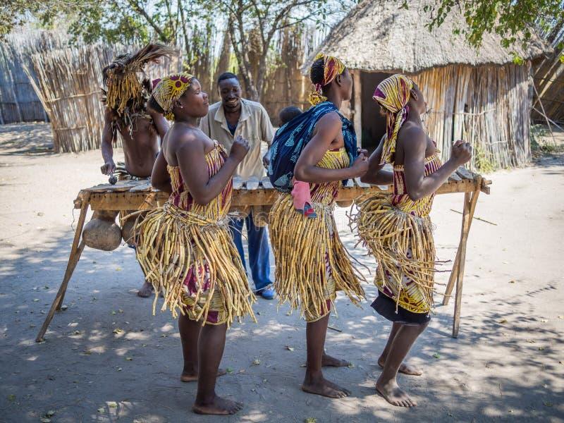 Luzibalule Namibia - Augusti 13, 2015: Traditionellt klädde afrikanska kvinnor som dansar till musik, Lizauli traditionell by fotografering för bildbyråer