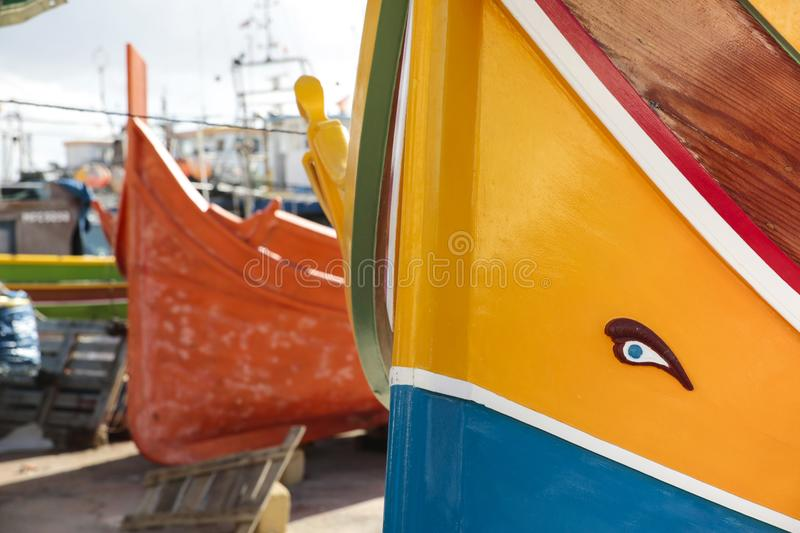 Luzzu the typical Boat of Malta royalty free stock photos