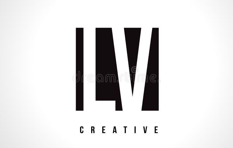 LV L letra Logo Design do branco de V com quadrado preto ilustração royalty free