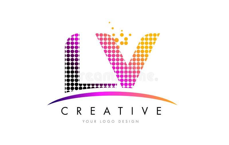LV L V loga Listowy projekt z Magenta Swoosh i kropkami royalty ilustracja