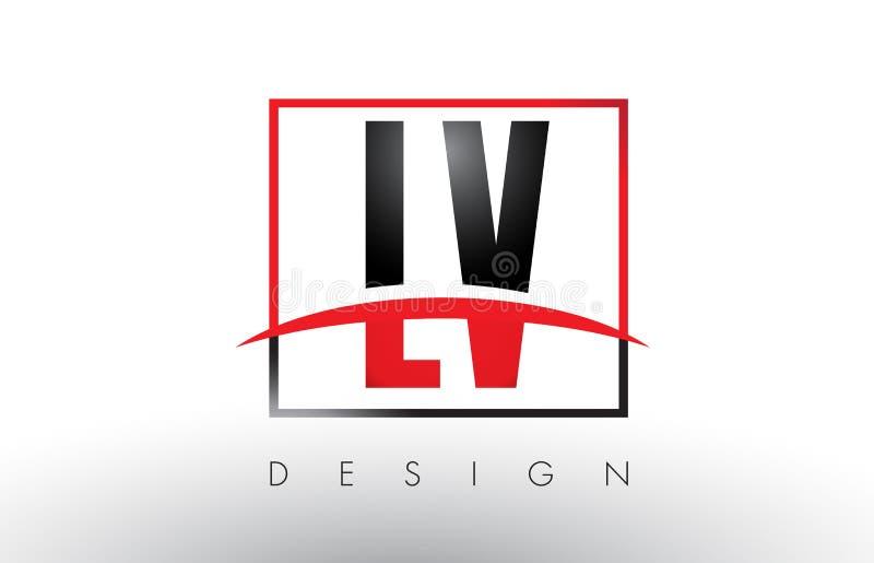 LV L V loga listy z rewolucjonistką, czerni Swoosh i kolory i ilustracja wektor