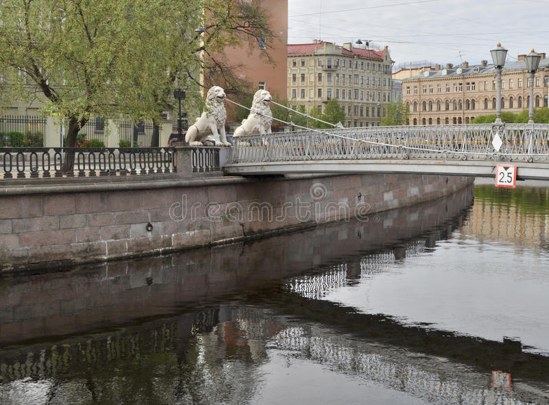 Lviny (Leeuwen) Brug, St. Petersburg stock afbeelding