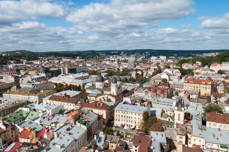 Lviv Άποψη από έναν υψηλό πύργο στοκ εικόνες με δικαίωμα ελεύθερης χρήσης
