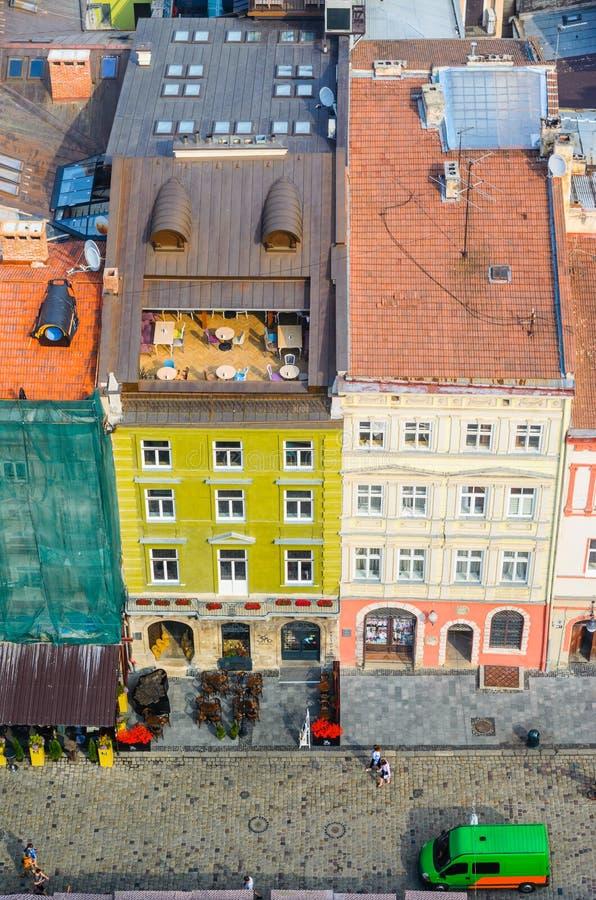 Lviv, πανόραμα της Ουκρανίας της παλαιάς πόλης στην ανατολή στοκ εικόνα με δικαίωμα ελεύθερης χρήσης