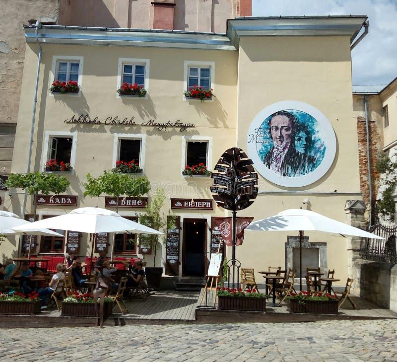 Lviv architektura fascynuje najpierw widok obraz stock