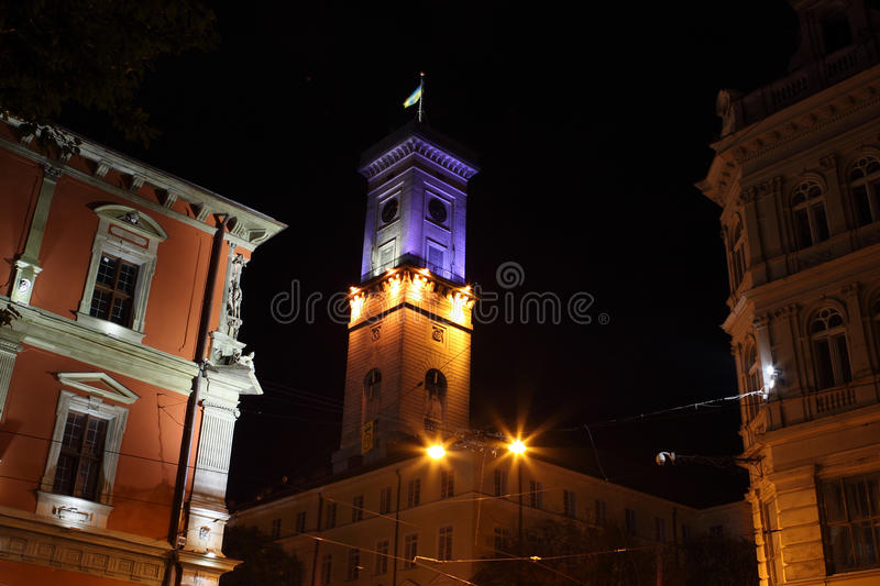 Lviv City hall by night stock images