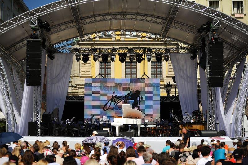 Lviv, de Oekraïne - Juni 2016: De alpha- Openingsjazz van Jazz Fest 2016 fest royalty-vrije stock foto's