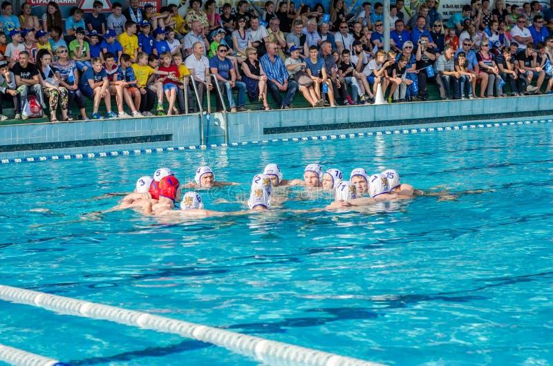 LVIV, DE OEKRAÏNE - JUNI 2016: Men' s het team van het waterpolo is aan het spel in de pool die hun strijdkreet wordt gestem stock afbeelding
