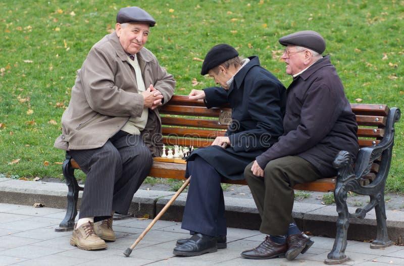 LVIV, DE OEKRAÏNE - NOVEMBER 15, 2015: de oude mensen spelen schaak in park van Lviv, de Oekraïne stock foto's