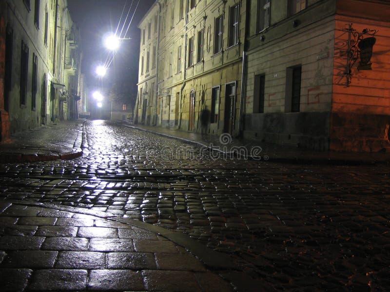 Lviv en la noche fotos de archivo