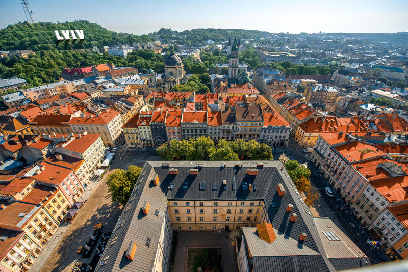 Lviv gammal stad i Ukraina royaltyfri fotografi