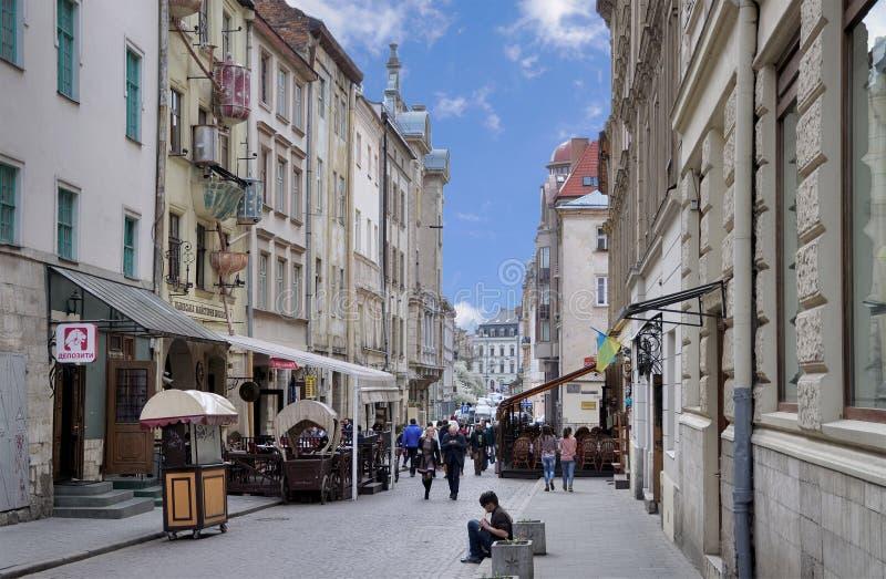Lviv, Kwiecień - 16, 2015: Lviv - historyczny centrum Ukraina, a zdjęcia royalty free