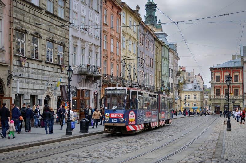Lviv, Kwiecień - 16, 2015: Lviv - historyczny centrum Ukraina, a obrazy royalty free
