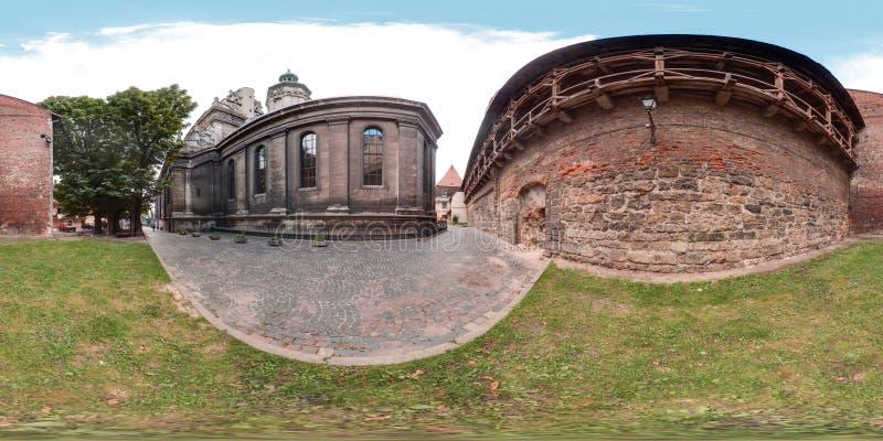 Lviv - lato, 2018: 3D bańczasta panorama z 360 stopni viewing kątem Przygotowywający dla rzeczywistości wirtualnej w vr Pełny equ obrazy royalty free
