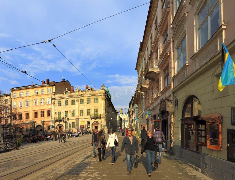 Lviv, Ukraine - historic city center, Old Town quarter and Market Square with Carmelite Church and Museum Street. Lviv, Lviv Oblast / Ukraine - 2010/04/12: Lviv royalty free stock photos