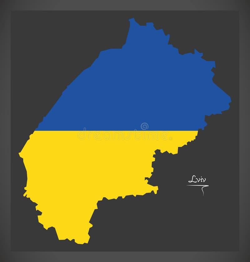 Lviv map of Ukraine with Ukrainian national flag illustration. Lviv map of Ukraine with Ukrainian national flag royalty free illustration