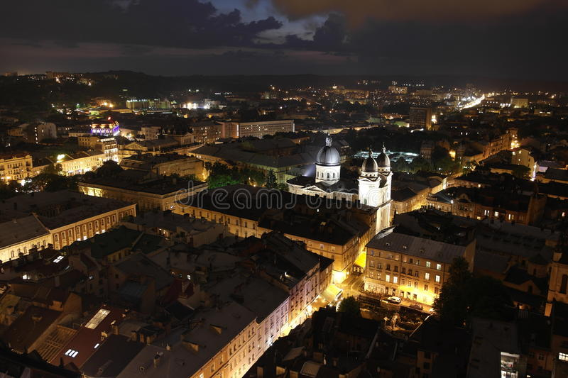 Lviv. Night view of the city from the Town Hall royalty free stock photos