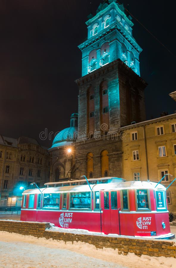 Lviv in the night at winter stock photo