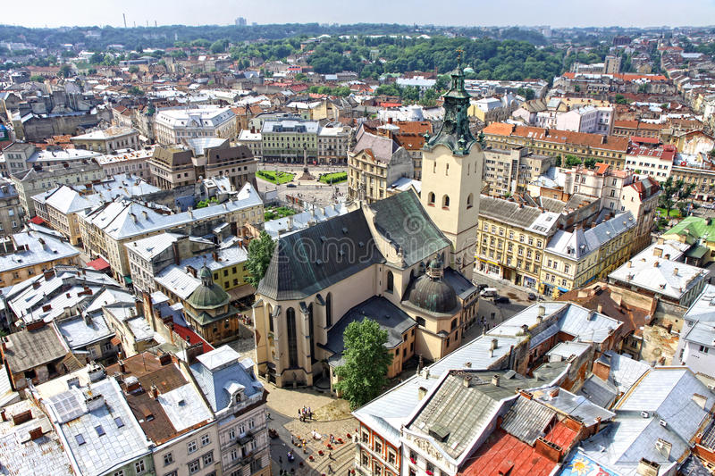 Lviv old town, Ukraine. Bird-eye view of Lviv old town with Dominican cathedral in the center, Lviv city, Ukraine stock images