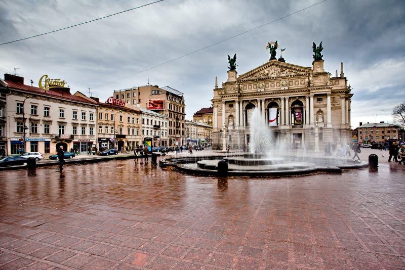 lviv opera ukraine royaltyfria bilder
