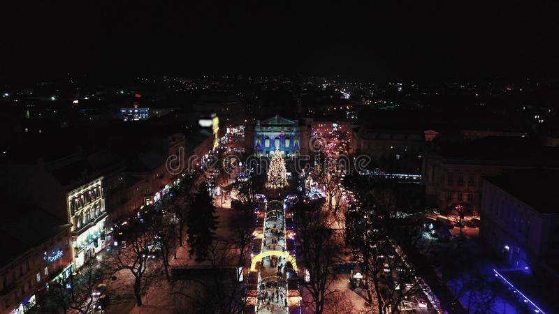 Lviv opery Theatre Noc widok z lotu ptaka Lviv opera obraz stock