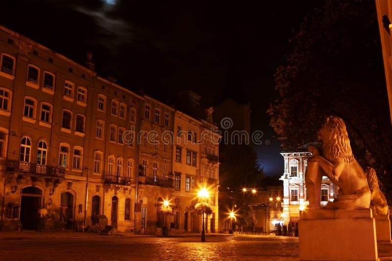 Lviv street at night royalty free stock photo